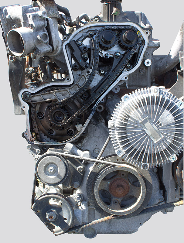 YD25 engine with exposed cam chain